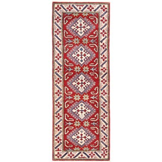 Herat Oriental Afghan Hand-knotted Kazak Red/ Ivory Wool Runner (2'1 x 5'9)