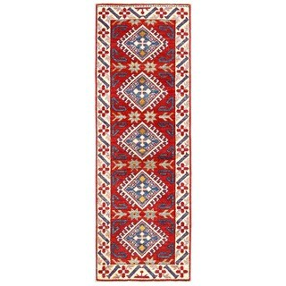 Herat Oriental Afghan Hand-knotted Kazak Red/ Ivory Wool Runner (1'10 x 5'7)