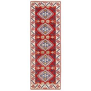 Herat Oriental Afghan Hand-knotted Kazak Wool Runner (1'10 x 5'7)