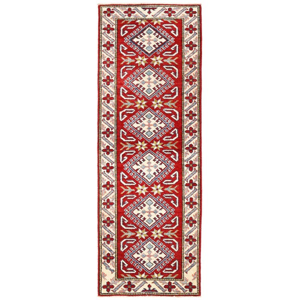 Herat Oriental Afghan Hand-knotted Kazak Wool Runner - 2'1 x 6'
