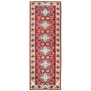 Herat Oriental Afghan Hand-knotted Kazak Red/ Ivory Wool Runner (2'1 x 6')