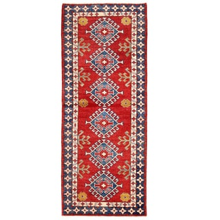 Herat Oriental Afghan Hand-knotted Kazak Red/ Navy Wool Runner (2'3 x 5'8)