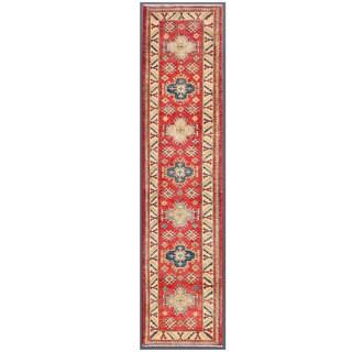 Herat Oriental Afghan Hand-knotted Kazak Red/ Ivory Wool Runner (2'3 x 9'11)