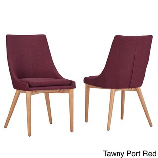 MID-CENTURY LIVING Sasha Oak Barrel Back Side Chair (Set of 2)