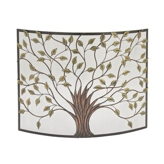 Copper Grove Kitty Nature-Inspired Colored 33-inch x 39-inch Iron Fire Screen