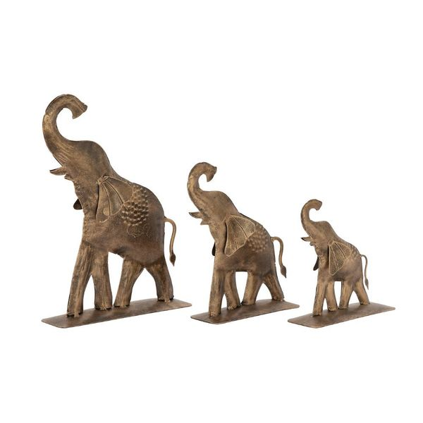 The Curated Nomad Merced Set of 3 Metal Gold Elephant Statues