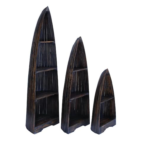Wooden Boat with Distinctive Design in Brown Finish - (Set of 3)