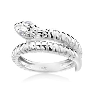 Andrew Charles 14k White Gold Diamond Accent Snake Ring ( H-I, SI2-I1)