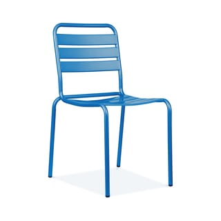 Paris Glossy Blue Metal Set of 4 Stackable Side Chair