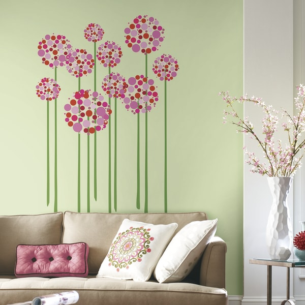 Pink, Red, and Green Floral Dot Peel and Stick Giant Wall Decals