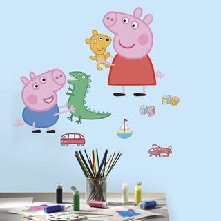 Peppa the Pig - Peppa/George Playtime Peel and Stick Giant Wall Decals