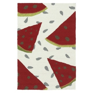 Indoor/ Outdoor Beachcomber Watermelon Ivory Rug (2' x 3')