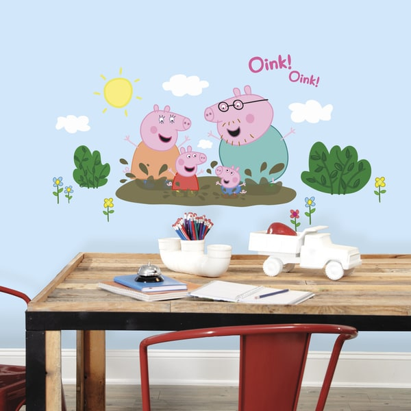 Baby Room Wall Décor Ideas Tips For Careful Parents: Shop Peppa Pig Family Muddy Puddles Giant Peel And Stick