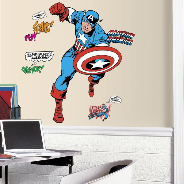 Shop Classic Captain America Comic Peel And Stick Giant Wall Decals