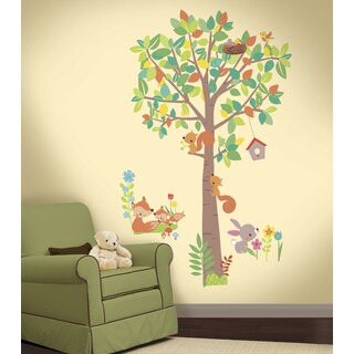 Tree and Woodland Creatures Peel and Stick Giant Wall Decals
