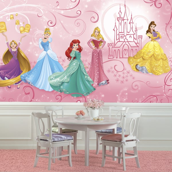 Disney Princess Enchanted 6-foot x 10.5-foot XL Chair Rail Prepasted Mural