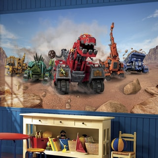 Dinotrux XL 6-foot x 10-foot 6-inch Ultra-strippable Prepasted Chair Rail Mural
