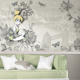 RoomMates Decor Vintage-style Prepasted Extra-large Chair Rail Tinkerbell Wall Mural