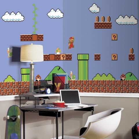 Super Mario Retro XL Ultra-strippable 6-foot x 10-foot-6 inch Prepasted Chair Rail Mural