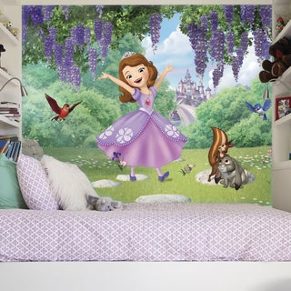 Sofia the First - Friends Garden 6-foot x 10.5-foot XL Chair Rail Prepasted Ultra-strippable Mural