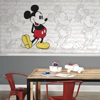 Mickey Mouse 6-foot x 10.5-foot Classic Mickey XL Chair Rail Ultra-strippable Prepasted Mural