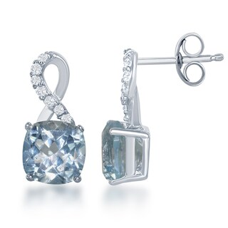 La Preciosa Sterling Silver White Topaz and Gemstone Infinity Stud Earrings