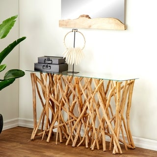 Teak Branch Glass Console 51 inches wide x 30 inches high