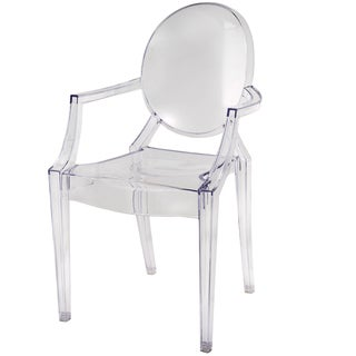 Clear Polycarbonate 22.5-inch x 21-inch x 36.5-inch Modern Baroque Chair