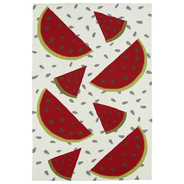Indoor/ Outdoor Beachcomber Watermelon Ivory Rug - 7'6 x 9'