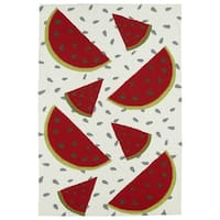 Indoor/ Outdoor Beachcomber Watermelon Ivory Rug - 7'6 x 9'