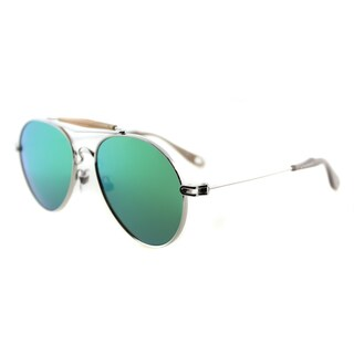 Givenchy GV 7012 010 Palladium Metal Aviator Green Mirror Lens Sunglasses