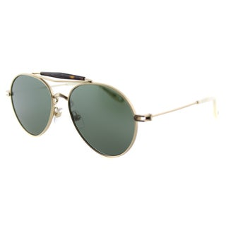 Givenchy GV 7012 AOZ Matte Gold Metal Aviator Green Lens Sunglasses
