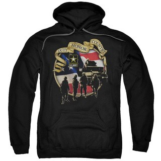 Adult Black Cotton/Polyester Army/Duty Honor Country Pull-over Hoodie
