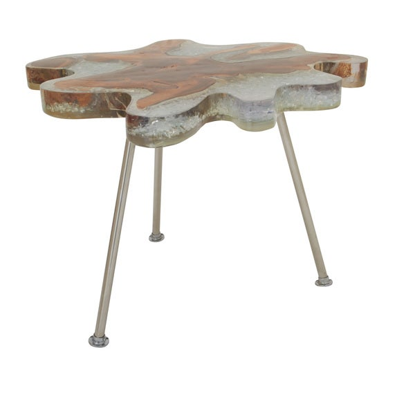 Beau Teak Resin Stainless Steel Table 26 Inches Wide X 19 Inches High