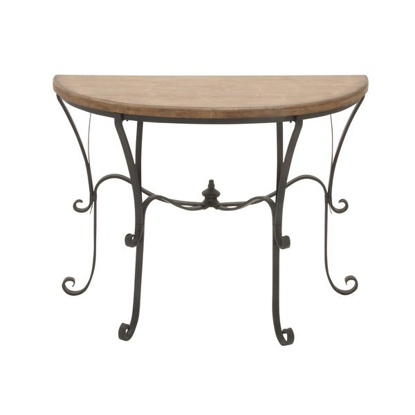 Metal wood console table 42 inches wide x 33 inches high for 10 inch high table