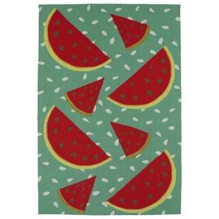 Indoor/ Outdoor Beachcomber Watermelon Rug (3' x 5')
