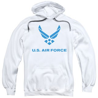 Air Force/Distressed Logo Adult White Pull-over Hoodie