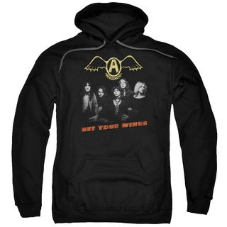 Aerosmith Adult's Get Your Wings Black Cotton/Polyester Pullover Hoodie