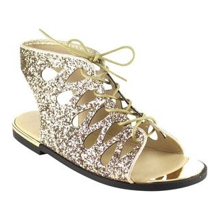 Beston Gb77 Women's Lace Up Glitter Sandals
