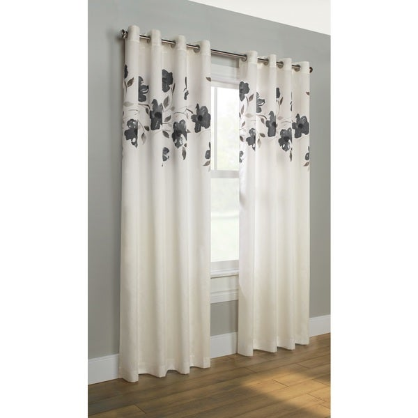 Winston Porter Simpson Nature Floral Semi Sheer Grommet: Shop Eden Faux Silk Floral Curtain Panel