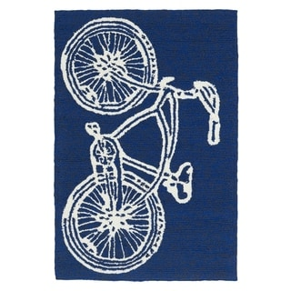 Indoor/ Outdoor Beachcomber Bicycle Navy Rug (2' x 3')