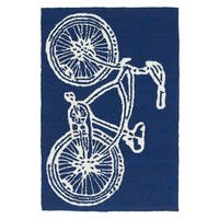 Indoor/ Outdoor Beachcomber Bicycle Navy Rug - 2' x 3'