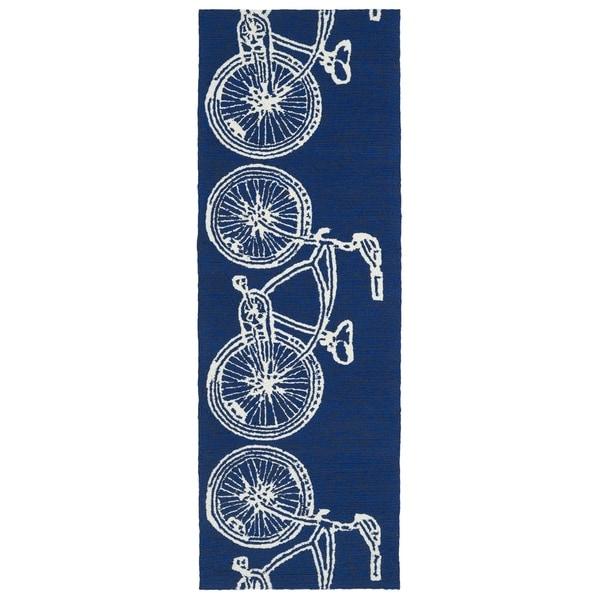 Indoor/ Outdoor Beachcomber Bicycle Navy Rug - 2' x 6'