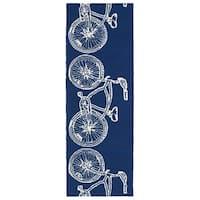 Indoor/ Outdoor Beachcomber Bicycle Navy Rug (2' x 6') - 2' x 6'