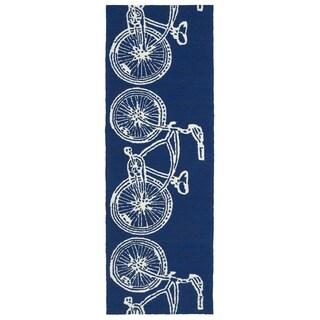 Indoor/ Outdoor Beachcomber Bicycle Navy Rug (2' x 6')
