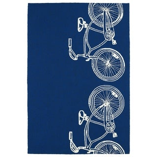 Indoor/ Outdoor Beachcomber Bicycle Navy Rug (3' x 5')