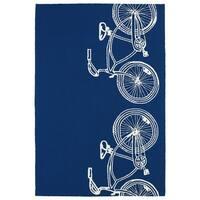 Indoor/ Outdoor Beachcomber Bicycle Navy Rug - 5' x 7'6