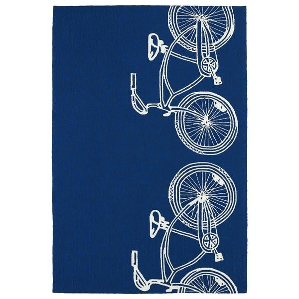 Indoor/ Outdoor Beachcomber Bicycle Navy Rug - 7'6 x 9'