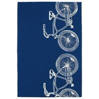 Indoor/ Outdoor Beachcomber Bicycle Navy Rug - 7'6 x 9'