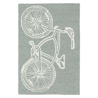 Indoor/ Outdoor Beachcomber Bicycle Grey Rug (2' x 3')
